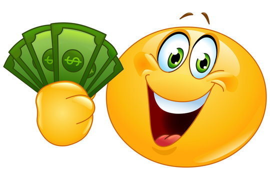 Emoticon with dollars