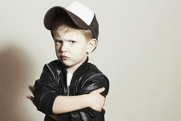 Little boy.Hip-Hop Style.fashion children.Young Serious Child