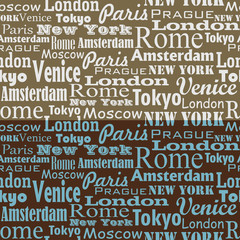 seamless text pattern with name of city and capitals