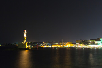 Chania town (Crete,Greece), light house at night