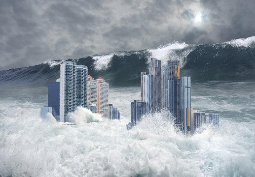 Apocalyptic scene of city submerged by tsunami