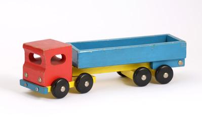 Retro wooden toy truck