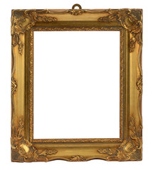 Empty vintage golden frame with floral ornaments