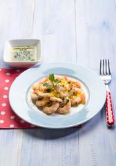 shrimp marinated with mint and lemon peel
