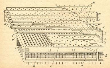 Windchest of pipe organ