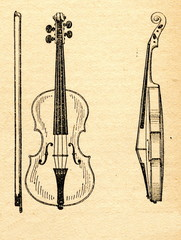 Violin shown from the front and the side