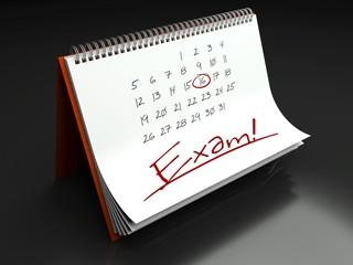 Exam important day, calendar concept