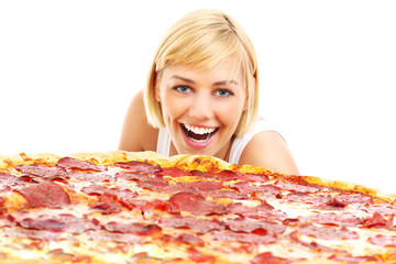 Fototapete - Happy woman with pizza