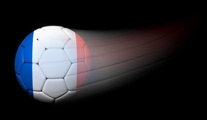 Soccer ball with French flag in motion on black