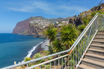 Beautiful coast of Madeira Island with hiking trai