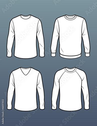 Set Of 4 Long Sleeve T Shirt Templates