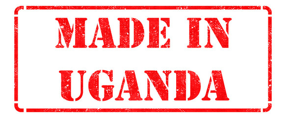 Made in Uganda - inscription on Red Rubber Stamp.