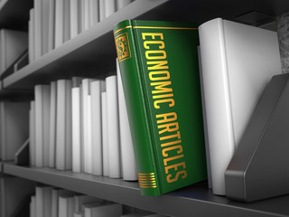 Economic Articles - Title of Book. Internet Concept.