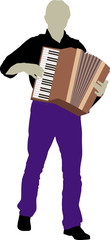 silhouette of bandsman with accordion
