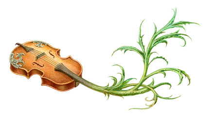 Fairy-tale mystic violin with plant scroll painting. Isolated on