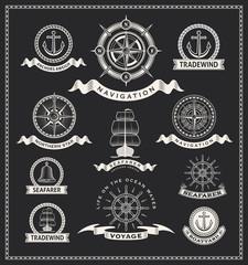 Vintage nautical label vector set