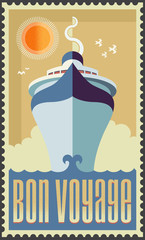 Vintage retro cruise ship vector design - Holiday travel poster