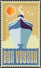 Vintage retro cruise ship vector design - Holiday travel poster