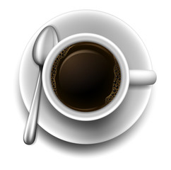 A topview of a cup of coffee