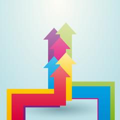 colored arrows showing upward