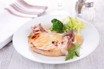 pork chop and vegetable