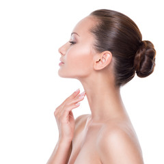 Beautiful woman cares for the neck