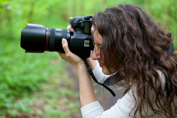 Photographer taking picture in the nature