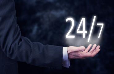 24 hour Business service concept.