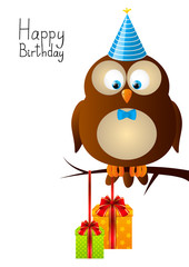 Cute Birthday owl with gifts