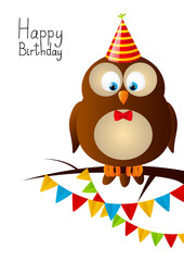 Cute Birthday owl with party flags