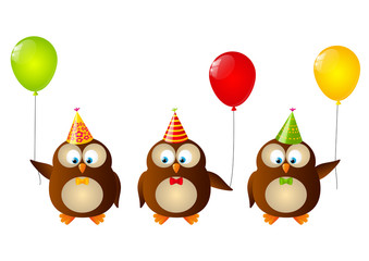 Cute Birthday owls with balloons