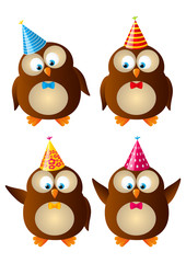 Set of cute Birthday owls