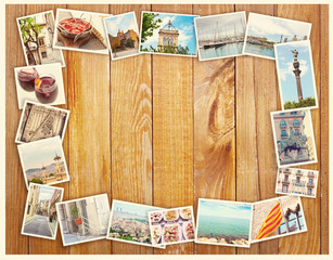 Barcelona collage, a few photos on a wooden background, postcard