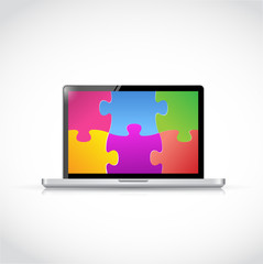 laptop puzzle pieces tablet screen illustration