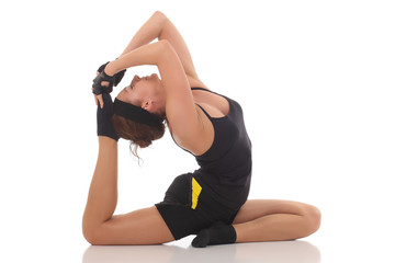 young beautiful yoga posing
