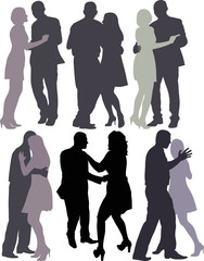 silhouettes of couples dancing