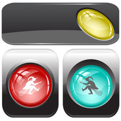 Witch. Vector internet buttons.