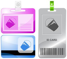 Bucket. Vector id cards.