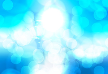 Abstract bokeh background, blue and white colors