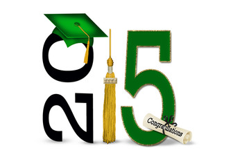 Green and gold 2015 graduation