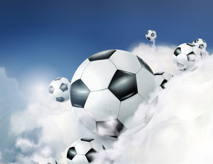 Football in the clouds vector illustration
