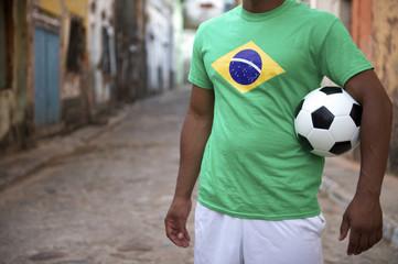 Brazilian Street Football Player Holding Soccer Ball