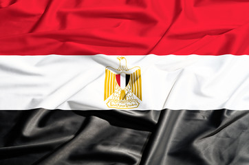 Egypt  flag on a silk drape waving