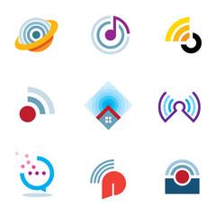 World connectivity signal location waves transmitting logo icons