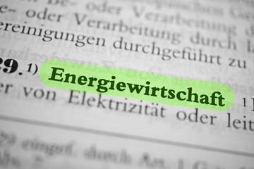 Energiewirtschaft - grün markiert