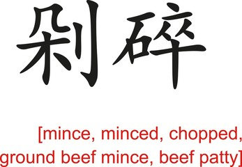 Chinese Sign for mince, minced, chopped