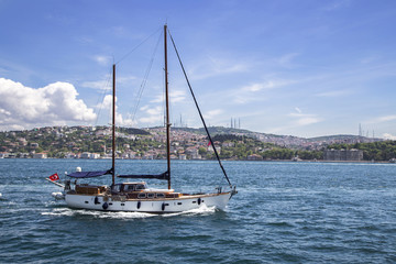A sailing boat in the Marmaris sea near Istanbul, Turkey
