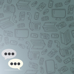 Speech bubbles at background with gadgets
