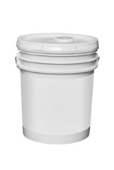 White plastic 5 gallon paint container, isolated