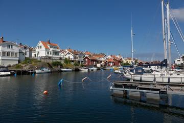 View over fishing village Grundsund located in Bohuslan, Sweden.
